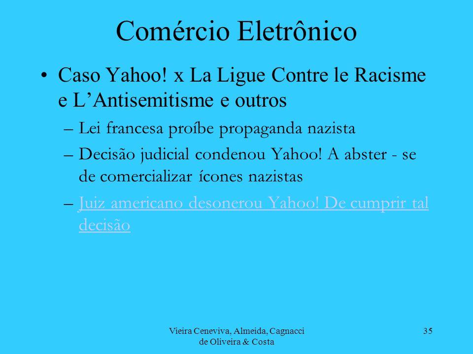 Vieira Ceneviva, Almeida, Cagnacci de Oliveira & Costa 35 Comércio Eletrônico Caso Yahoo! x La Ligue Contre le Racisme e LAntisemitisme e outros –Lei