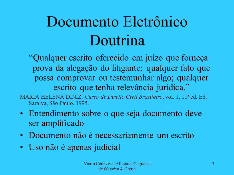 Vieira Ceneviva, Almeida, Cagnacci de Oliveira & Costa 6 Documento Eletrônico Doutrina Il documento non è soltando una cosa, ma una cosa rappresentativa, cioè capace di rappresentare un fatto.