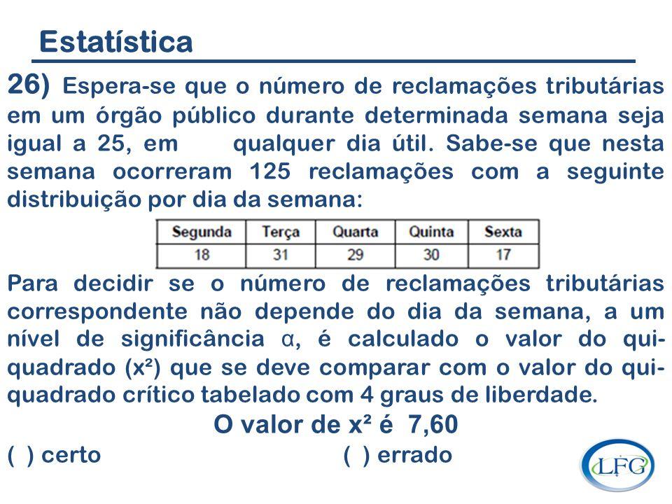 Estatística 26) Espera-se que o número de reclamações tributárias em um órgão público durante determinada semana seja igual a 25, em qualquer dia útil