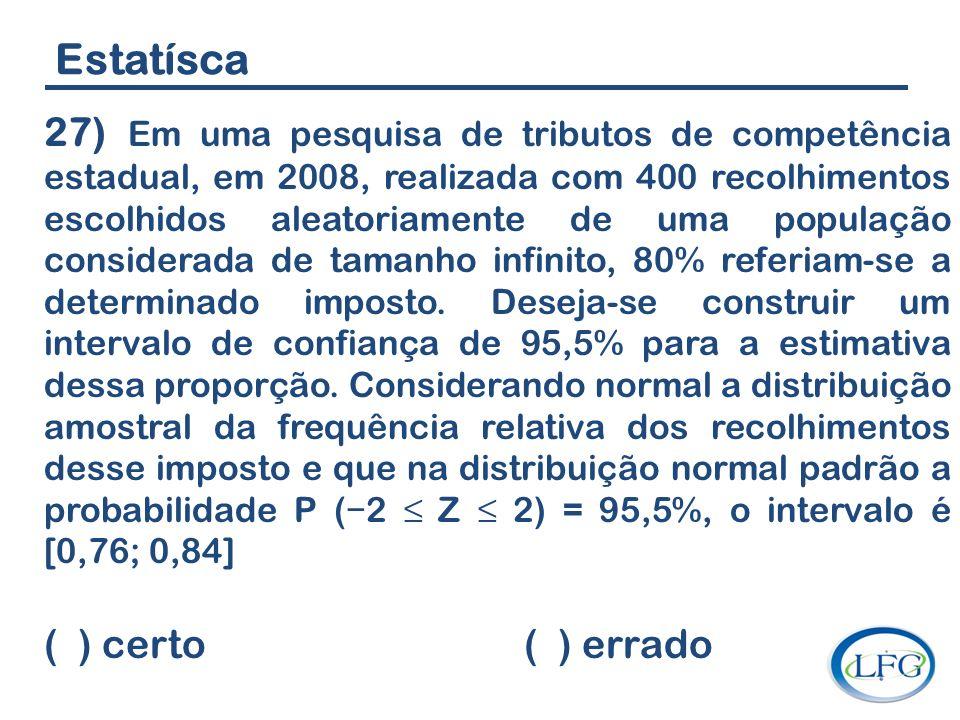 Estatísca 27) Em uma pesquisa de tributos de competência estadual, em 2008, realizada com 400 recolhimentos escolhidos aleatoriamente de uma população