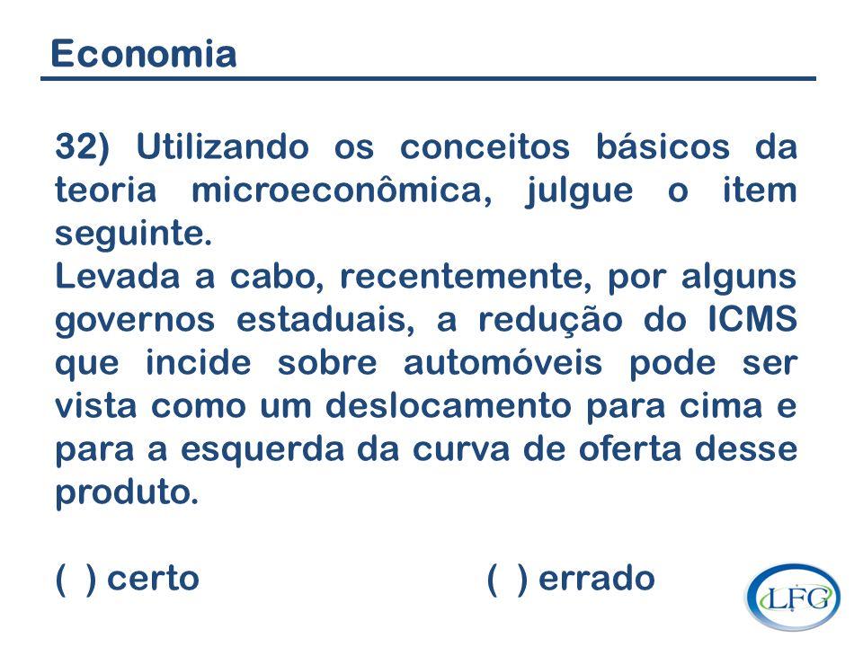 Economia 32) Utilizando os conceitos básicos da teoria microeconômica, julgue o item seguinte. Levada a cabo, recentemente, por alguns governos estadu