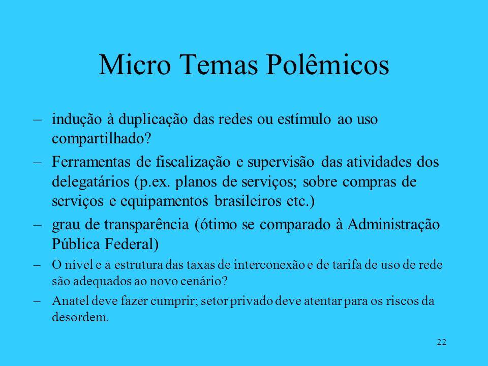 22 Micro Temas Polêmicos –indução à duplicação das redes ou estímulo ao uso compartilhado? –Ferramentas de fiscalização e supervisão das atividades do