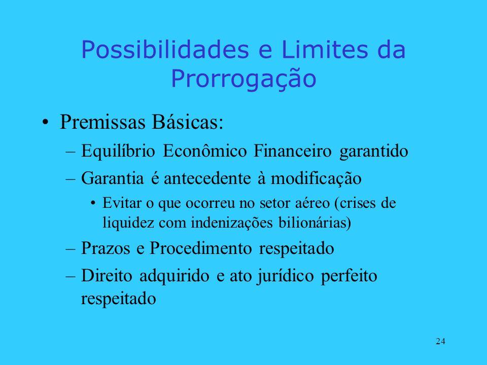 24 Possibilidades e Limites da Prorrogação Premissas Básicas: –Equilíbrio Econômico Financeiro garantido –Garantia é antecedente à modificação Evitar