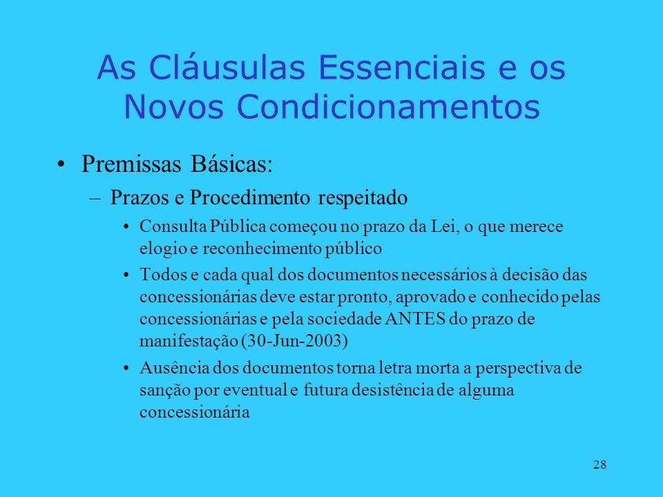 28 As Cláusulas Essenciais e os Novos Condicionamentos Premissas Básicas: –Prazos e Procedimento respeitado Consulta Pública começou no prazo da Lei,
