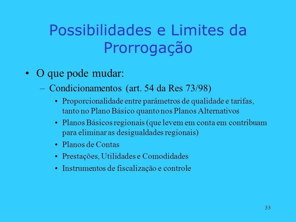 33 Possibilidades e Limites da Prorrogação O que pode mudar: –Condicionamentos (art. 54 da Res 73/98) Proporcionalidade entre parâmetros de qualidade