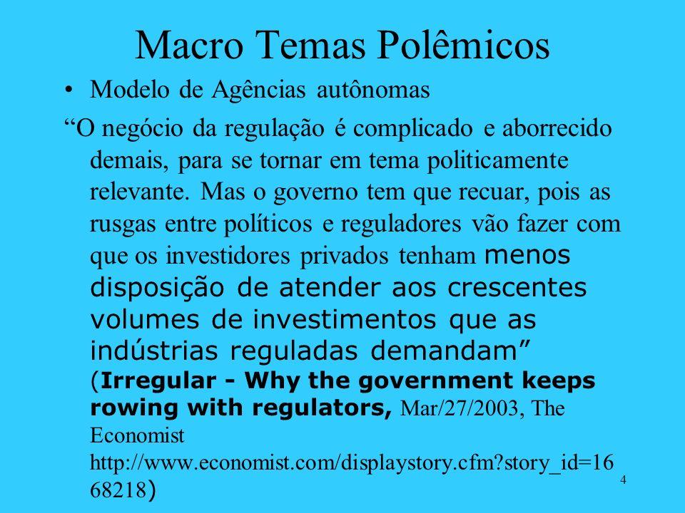 4 Macro Temas Polêmicos Modelo de Agências autônomas O negócio da regulação é complicado e aborrecido demais, para se tornar em tema politicamente rel