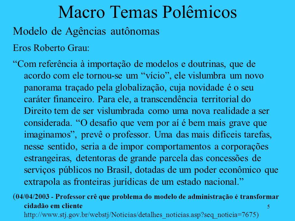 5 Macro Temas Polêmicos Modelo de Agências autônomas Eros Roberto Grau: Com referência à importação de modelos e doutrinas, que de acordo com ele torn