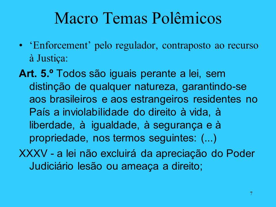 7 Macro Temas Polêmicos Enforcement pelo regulador, contraposto ao recurso à Justiça: Art. 5.º Todos são iguais perante a lei, sem distinção de qualqu
