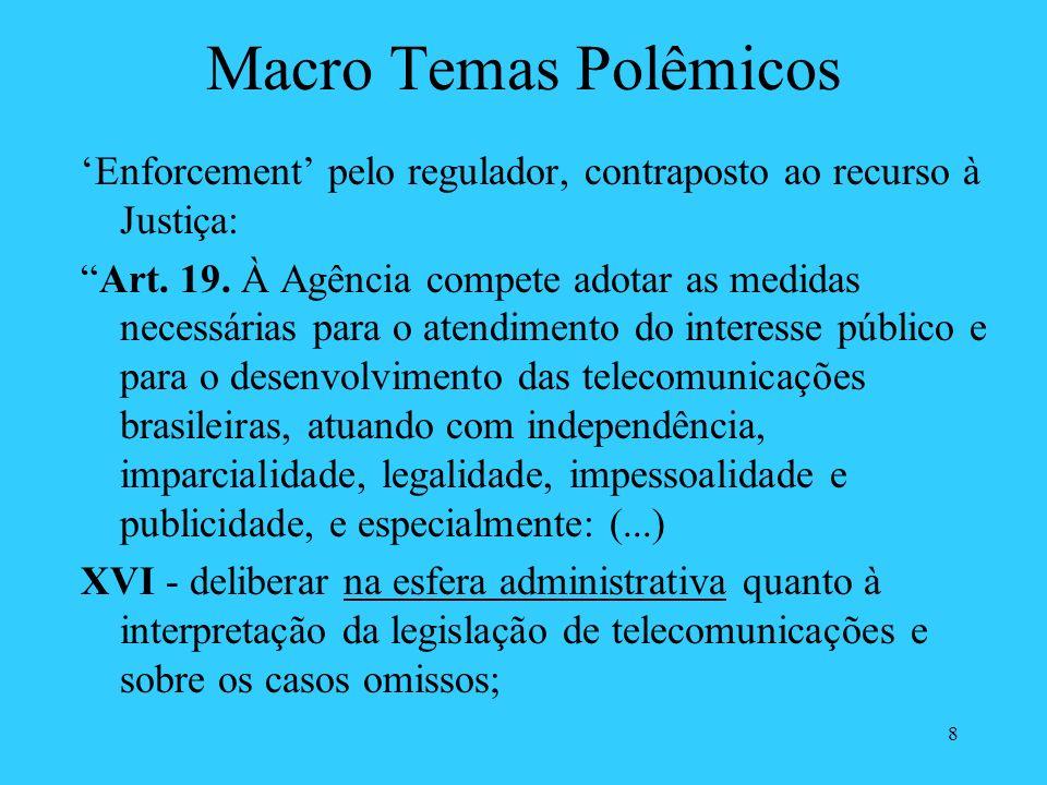 8 Macro Temas Polêmicos Enforcement pelo regulador, contraposto ao recurso à Justiça: Art. 19. À Agência compete adotar as medidas necessárias para o