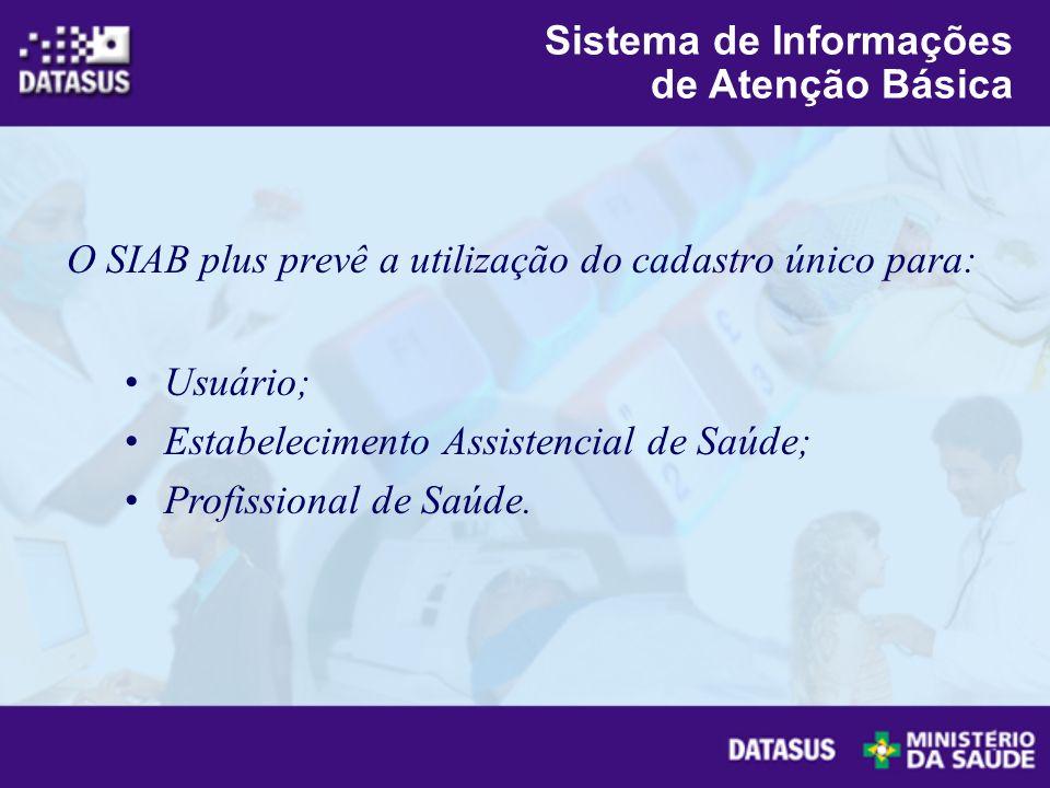 O SIAB plus prevê a utilização do cadastro único para: Usuário; Estabelecimento Assistencial de Saúde; Profissional de Saúde. Sistema de Informações d