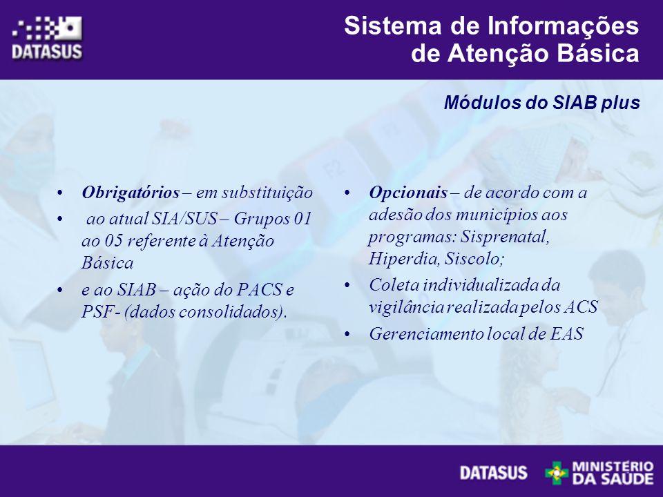 Obrigatórios – em substituição ao atual SIA/SUS – Grupos 01 ao 05 referente à Atenção Básica e ao SIAB – ação do PACS e PSF- (dados consolidados). Opc
