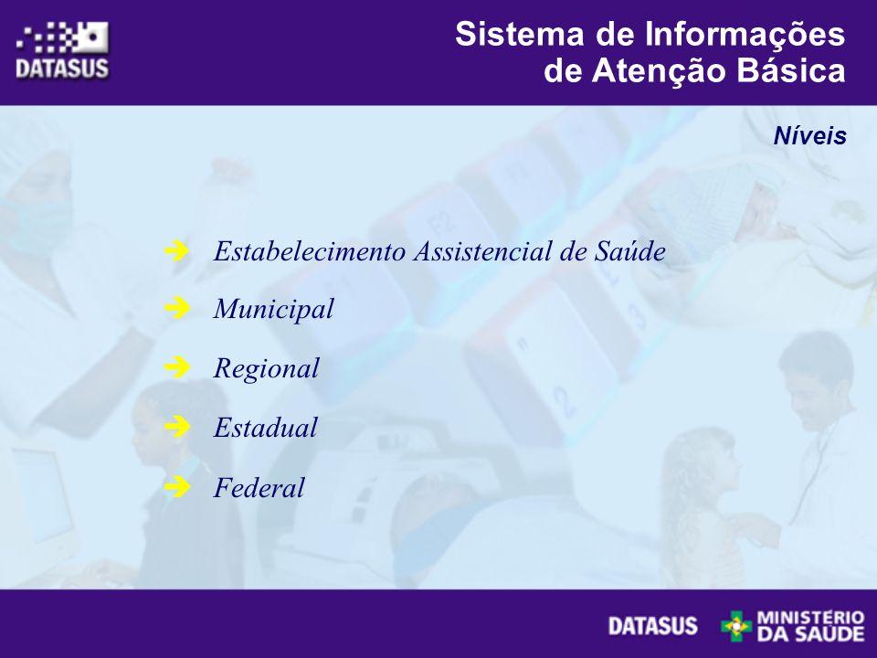 Estabelecimento Assistencial de Saúde Municipal Regional Estadual Federal Níveis Sistema de Informações de Atenção Básica