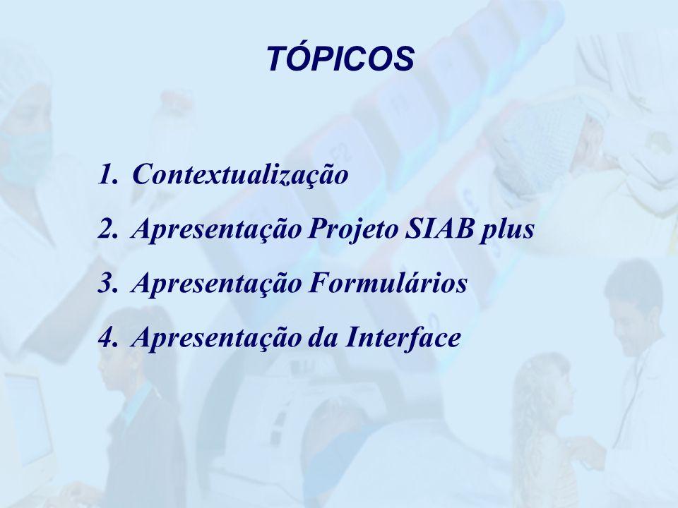 TÓPICOS 1.Contextualização 2.Apresentação Projeto SIAB plus 3.Apresentação Formulários 4.Apresentação da Interface