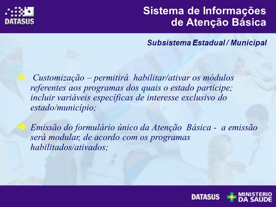 Customização – permitirá habilitar/ativar os módulos referentes aos programas dos quais o estado participe; incluir variáveis específicas de interesse