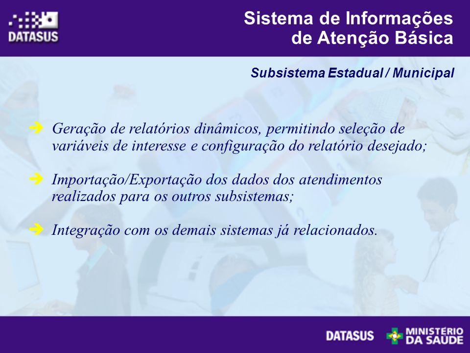 Geração de relatórios dinâmicos, permitindo seleção de variáveis de interesse e configuração do relatório desejado; Importação/Exportação dos dados do