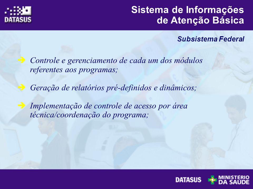 Controle e gerenciamento de cada um dos módulos referentes aos programas; Geração de relatórios pré-definidos e dinâmicos; Implementação de controle d