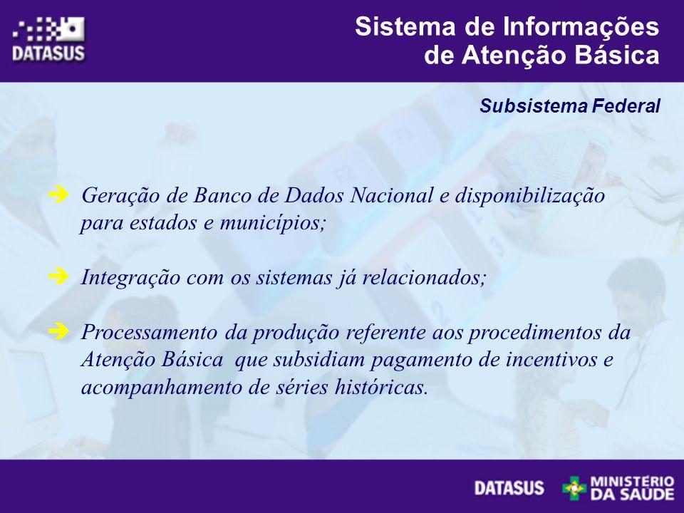 Geração de Banco de Dados Nacional e disponibilização para estados e municípios; Integração com os sistemas já relacionados; Processamento da produção