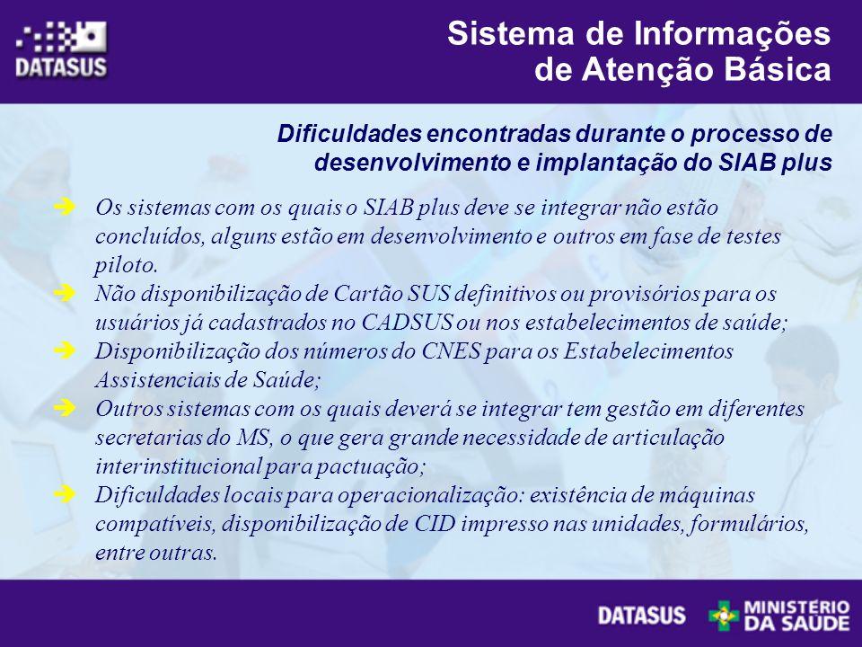 Os sistemas com os quais o SIAB plus deve se integrar não estão concluídos, alguns estão em desenvolvimento e outros em fase de testes piloto. Não dis