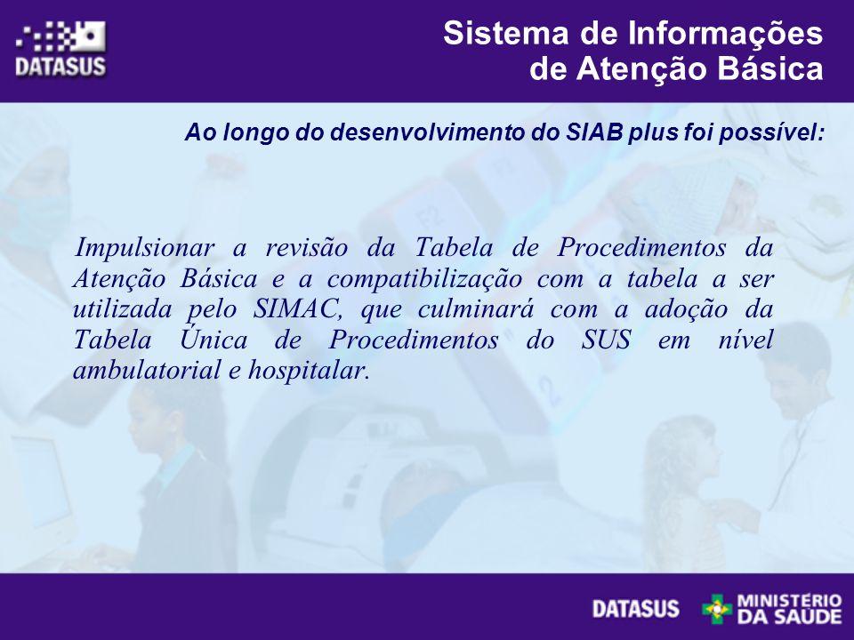 Impulsionar a revisão da Tabela de Procedimentos da Atenção Básica e a compatibilização com a tabela a ser utilizada pelo SIMAC, que culminará com a a
