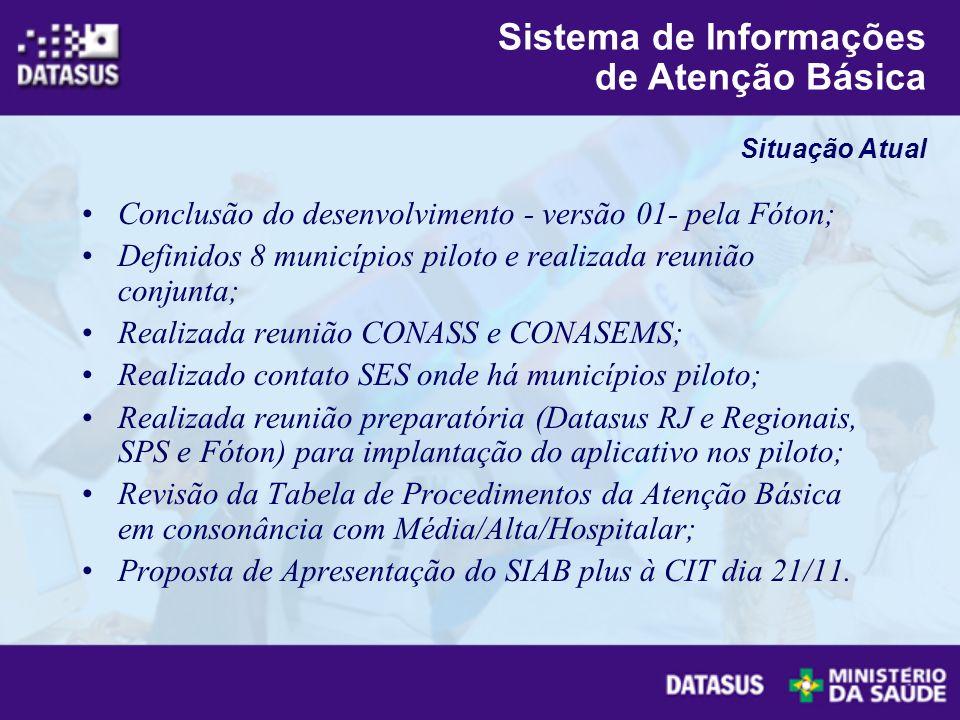 Conclusão do desenvolvimento - versão 01- pela Fóton; Definidos 8 municípios piloto e realizada reunião conjunta; Realizada reunião CONASS e CONASEMS;
