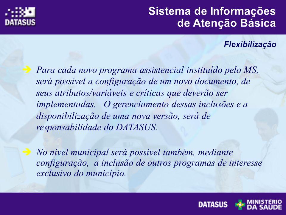 Para cada novo programa assistencial instituído pelo MS, será possível a configuração de um novo documento, de seus atributos/variáveis e críticas que
