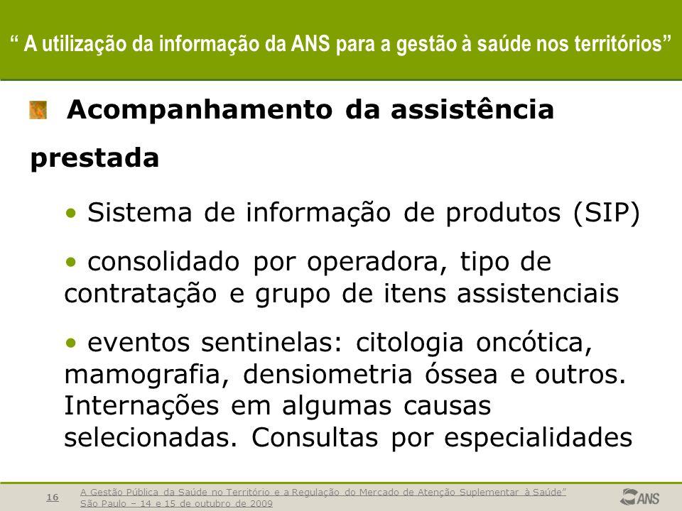 A Gestão Pública da Saúde no Território e a Regulação do Mercado de Atenção Suplementar à Saúde São Paulo – 14 e 15 de outubro de 2009 16 A utilização