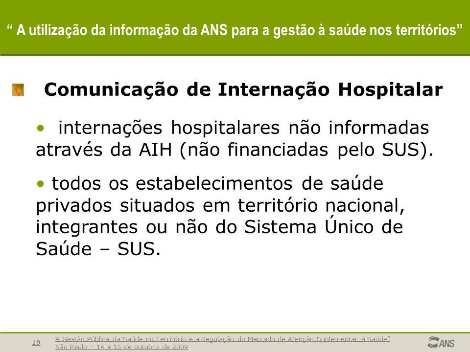 A Gestão Pública da Saúde no Território e a Regulação do Mercado de Atenção Suplementar à Saúde São Paulo – 14 e 15 de outubro de 2009 19 A utilização