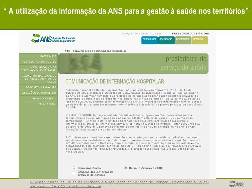 A utilização da informação da ANS para a gestão à saúde nos territórios A Gestão Pública da Saúde no Território e a Regulação do Mercado de Atenção Su