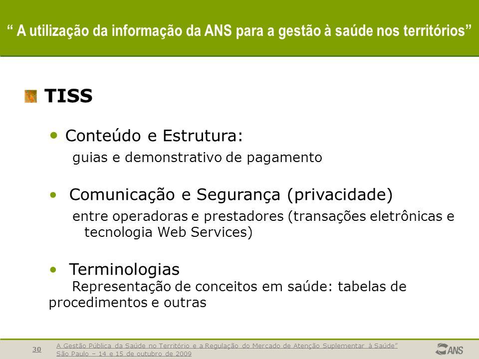 A Gestão Pública da Saúde no Território e a Regulação do Mercado de Atenção Suplementar à Saúde São Paulo – 14 e 15 de outubro de 2009 30 A utilização