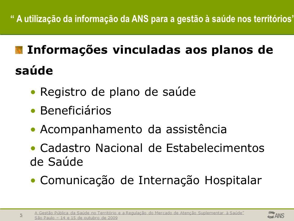 A Gestão Pública da Saúde no Território e a Regulação do Mercado de Atenção Suplementar à Saúde São Paulo – 14 e 15 de outubro de 2009 5 A utilização