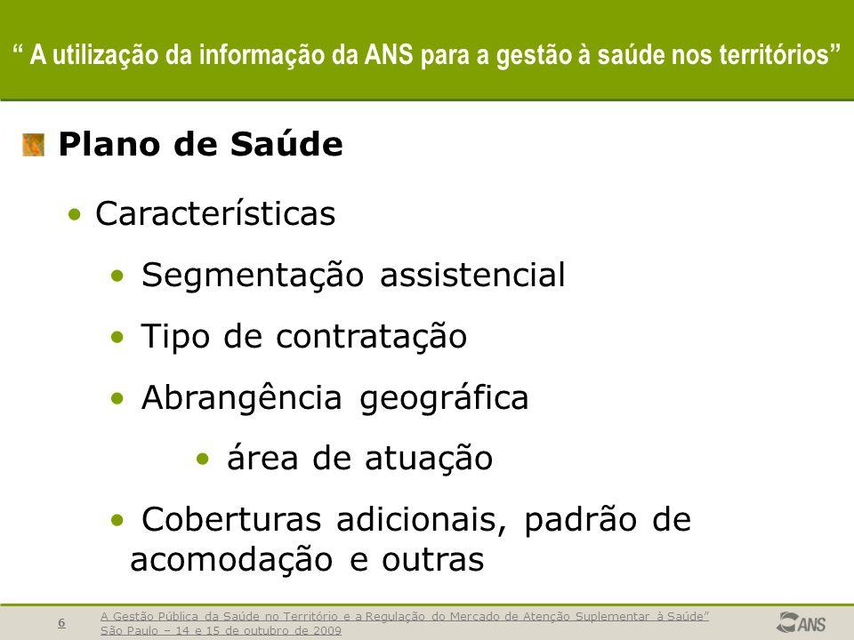 A Gestão Pública da Saúde no Território e a Regulação do Mercado de Atenção Suplementar à Saúde São Paulo – 14 e 15 de outubro de 2009 6 A utilização