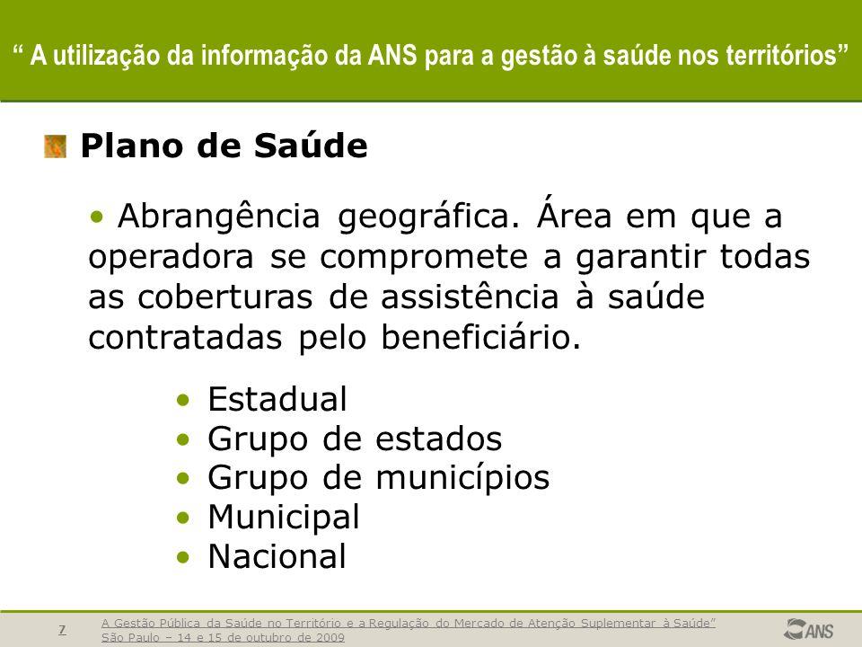 A Gestão Pública da Saúde no Território e a Regulação do Mercado de Atenção Suplementar à Saúde São Paulo – 14 e 15 de outubro de 2009 7 A utilização