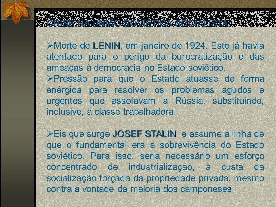 CRISE NA UNIÃO SOVIÉTICA SOCIALISTA: LENIN Morte de LENIN, em janeiro de 1924.