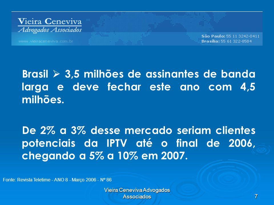 Vieira Ceneviva Advogados Associados7 Brasil 3,5 milhões de assinantes de banda larga e deve fechar este ano com 4,5 milhões. De 2% a 3% desse mercado