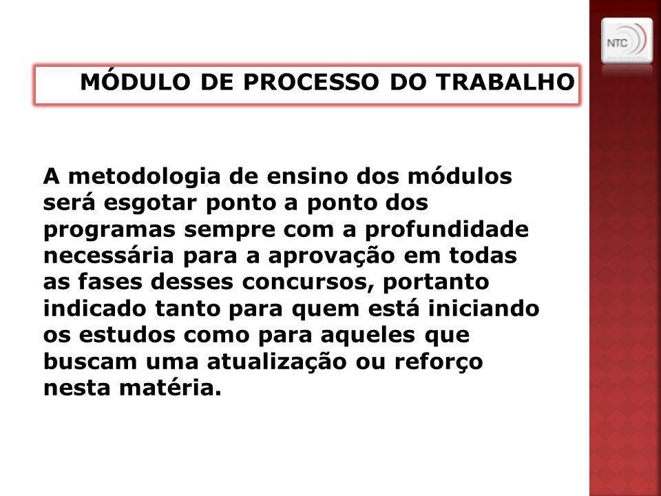 A metodologia de ensino dos módulos será esgotar ponto a ponto dos programas sempre com a profundidade necessária para a aprovação em todas as fases d