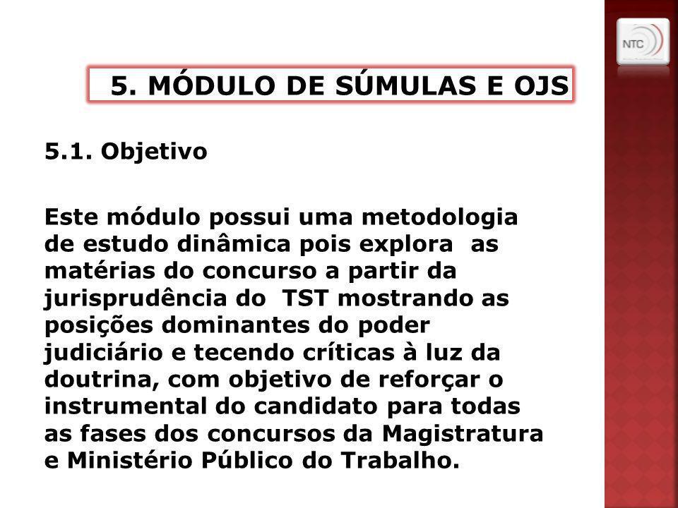 5.1. Objetivo Este módulo possui uma metodologia de estudo dinâmica pois explora as matérias do concurso a partir da jurisprudência do TST mostrando a