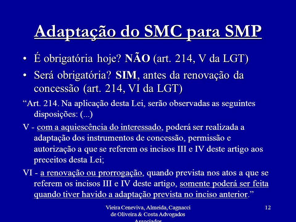 Vieira Ceneviva, Almeida, Cagnacci de Oliveira & Costa Advogados Associados 12 Adaptação do SMC para SMP É obrigatória hoje? NÃO (art. 214, V da LGT)É
