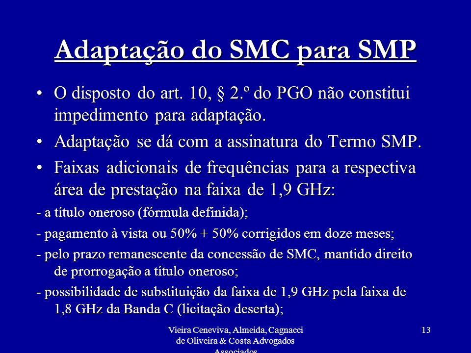 Vieira Ceneviva, Almeida, Cagnacci de Oliveira & Costa Advogados Associados 13 Adaptação do SMC para SMP O disposto do art. 10, § 2.º do PGO não const