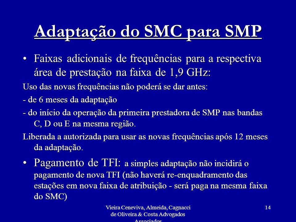 Vieira Ceneviva, Almeida, Cagnacci de Oliveira & Costa Advogados Associados 14 Adaptação do SMC para SMP Faixas adicionais de frequências para a respe