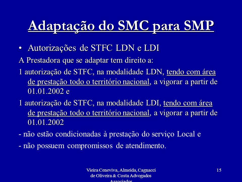 Vieira Ceneviva, Almeida, Cagnacci de Oliveira & Costa Advogados Associados 15 Adaptação do SMC para SMP Autorizações de STFC LDN e LDIAutorizações de
