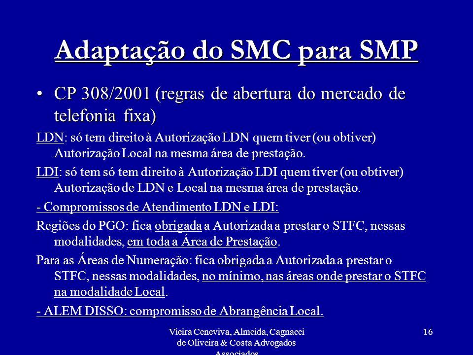 Vieira Ceneviva, Almeida, Cagnacci de Oliveira & Costa Advogados Associados 16 Adaptação do SMC para SMP CP 308/2001 (regras de abertura do mercado de