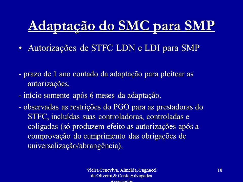Vieira Ceneviva, Almeida, Cagnacci de Oliveira & Costa Advogados Associados 18 Adaptação do SMC para SMP Autorizações de STFC LDN e LDI para SMPAutori