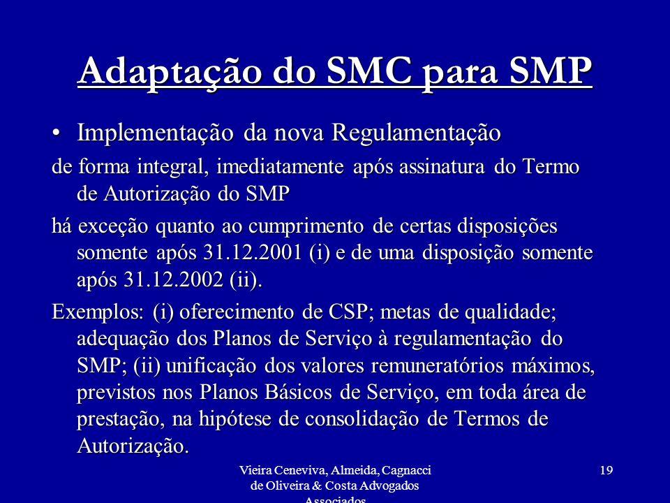 Vieira Ceneviva, Almeida, Cagnacci de Oliveira & Costa Advogados Associados 19 Adaptação do SMC para SMP Implementação da nova RegulamentaçãoImplement