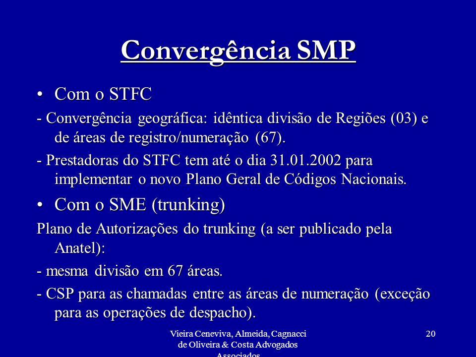 Vieira Ceneviva, Almeida, Cagnacci de Oliveira & Costa Advogados Associados 20 Convergência SMP Com o STFCCom o STFC - Convergência geográfica: idênti