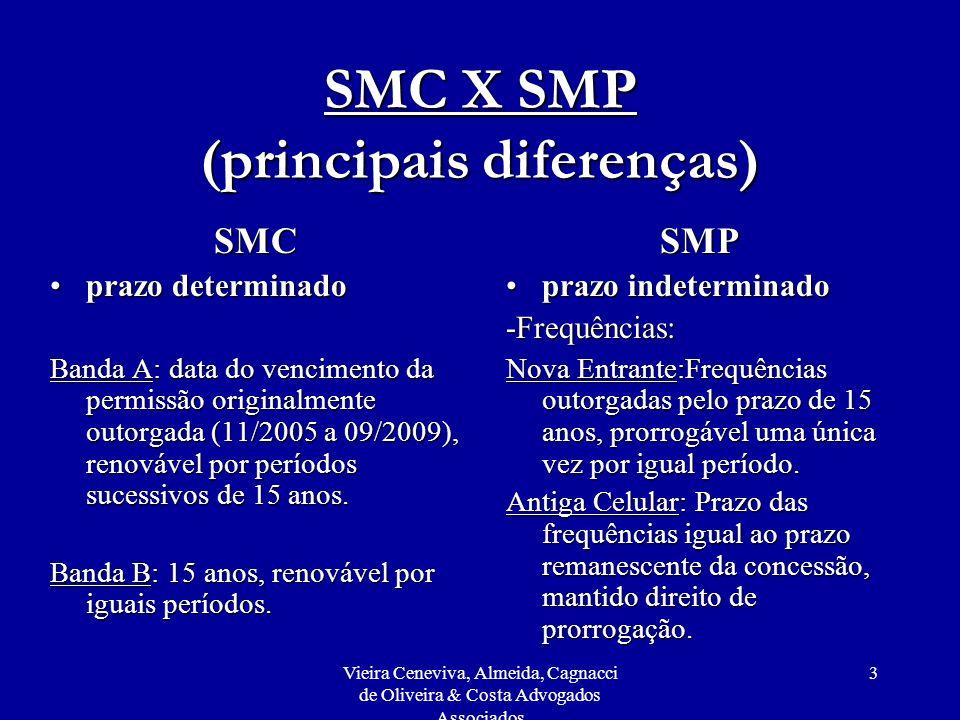 Vieira Ceneviva, Almeida, Cagnacci de Oliveira & Costa Advogados Associados 14 Adaptação do SMC para SMP Faixas adicionais de frequências para a respectiva área de prestação na faixa de 1,9 GHz:Faixas adicionais de frequências para a respectiva área de prestação na faixa de 1,9 GHz: Uso das novas frequências não poderá se dar antes: - de 6 meses da adaptação - do início da operação da primeira prestadora de SMP nas bandas C, D ou E na mesma região.