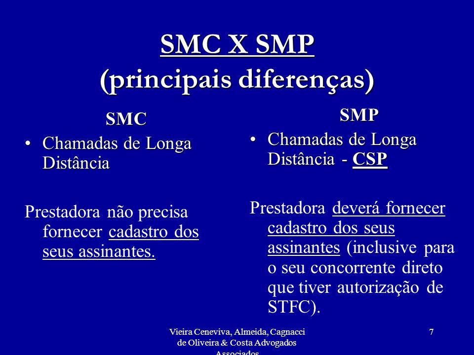 Vieira Ceneviva, Almeida, Cagnacci de Oliveira & Costa Advogados Associados 8 SMC X SMP (principais diferenças) SMC Limite de abrangênciaLimite de abrangência - uma mesma pessoa jurídica ou grupo econômico poderá deter apenas 2 concessões para uma mesma banda (A ou B), sendo uma entre as áreas 1 e 6 e outra entre as áreas 7 e 10.