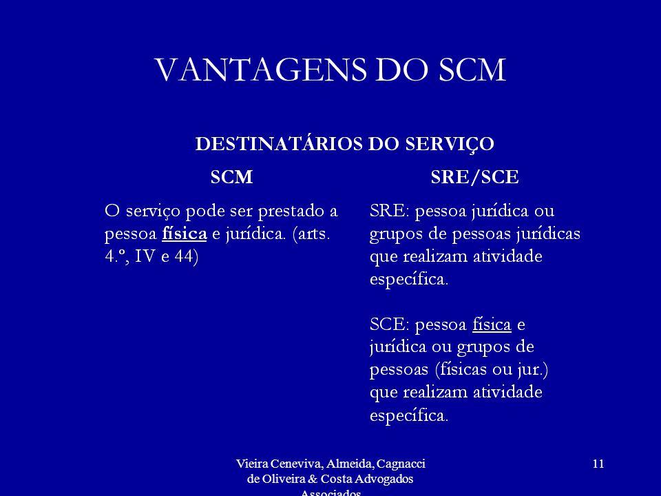 Vieira Ceneviva, Almeida, Cagnacci de Oliveira & Costa Advogados Associados 11 VANTAGENS DO SCM