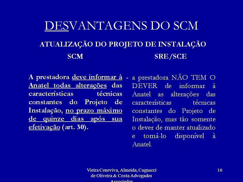 Vieira Ceneviva, Almeida, Cagnacci de Oliveira & Costa Advogados Associados 16 DESVANTAGENS DO SCM