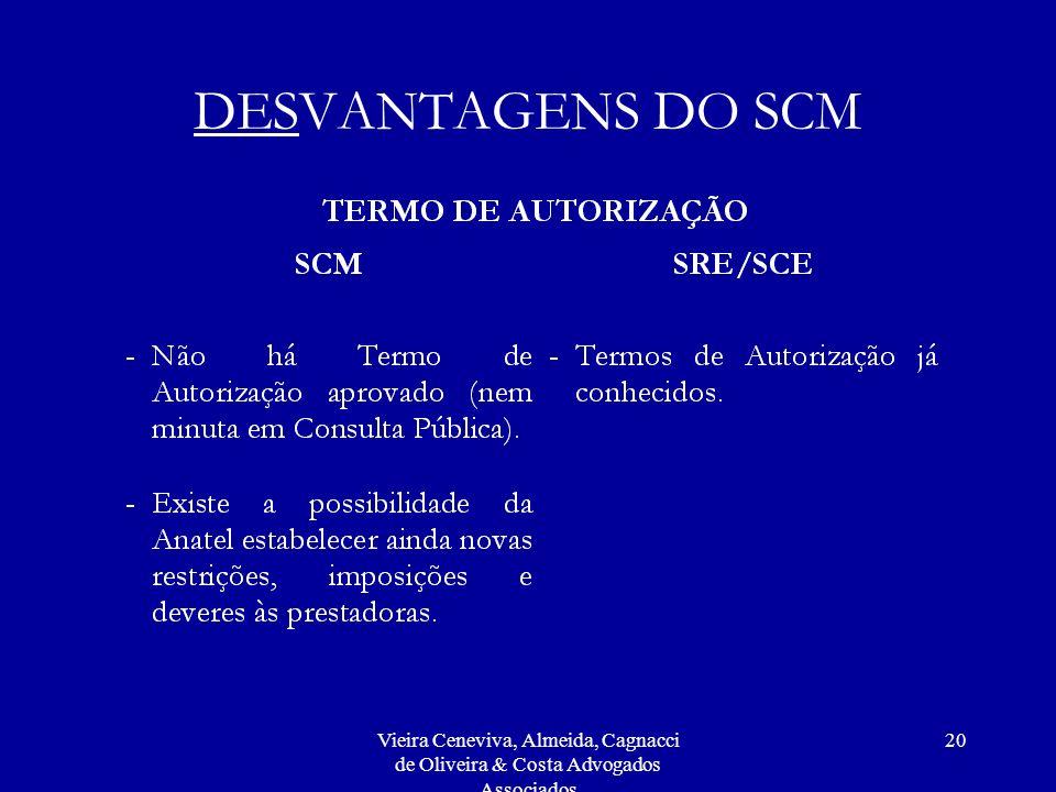 Vieira Ceneviva, Almeida, Cagnacci de Oliveira & Costa Advogados Associados 20 DESVANTAGENS DO SCM