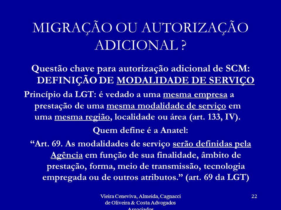 Vieira Ceneviva, Almeida, Cagnacci de Oliveira & Costa Advogados Associados 22 MIGRAÇÃO OU AUTORIZAÇÃO ADICIONAL ? Questão chave para autorização adic